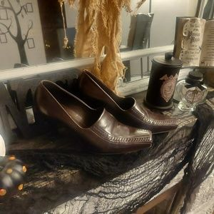 Franco Sarto Brown Leather Heels Size 7.5